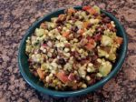 Black bean and corn salad with avocado.